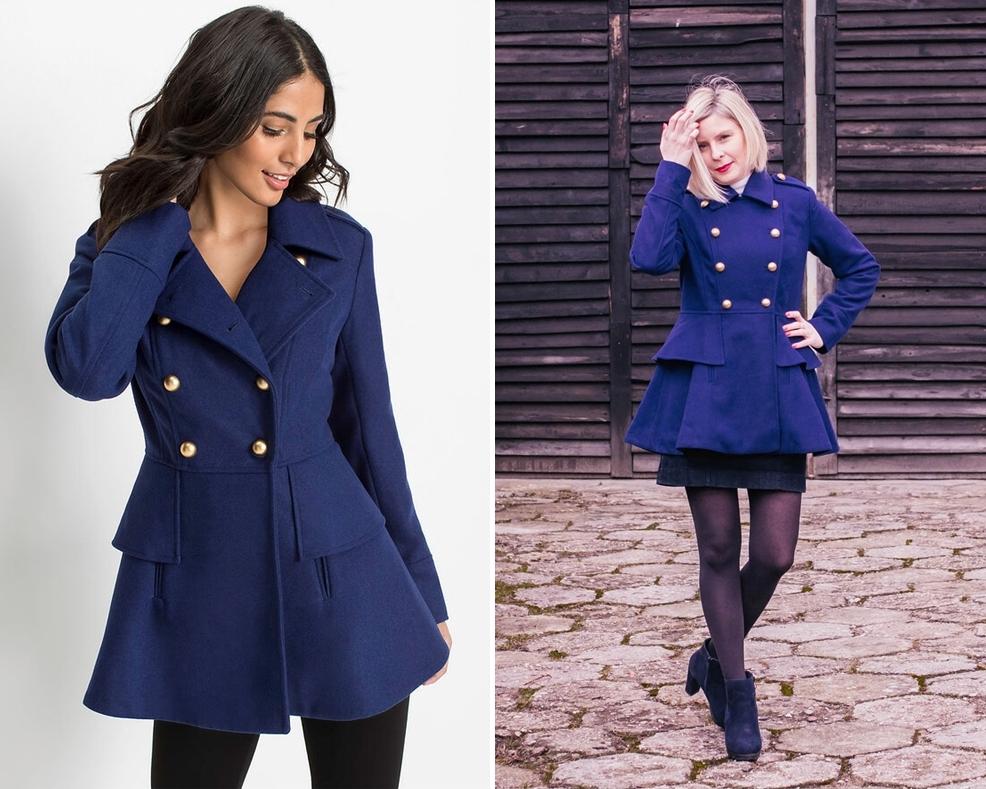 Krótki płaszcz w militarnym stylu (Bonprix nr art. 96609695)