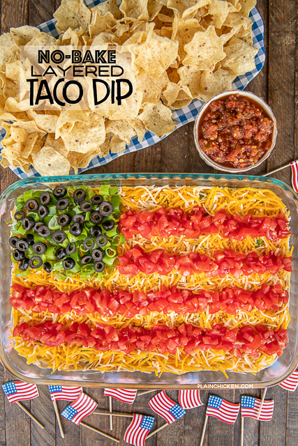 taco dip in shape of flag with chips
