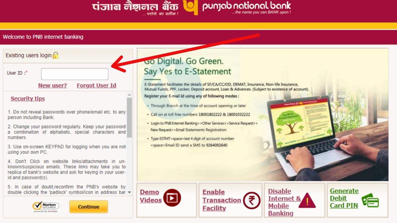 pnb net banking login