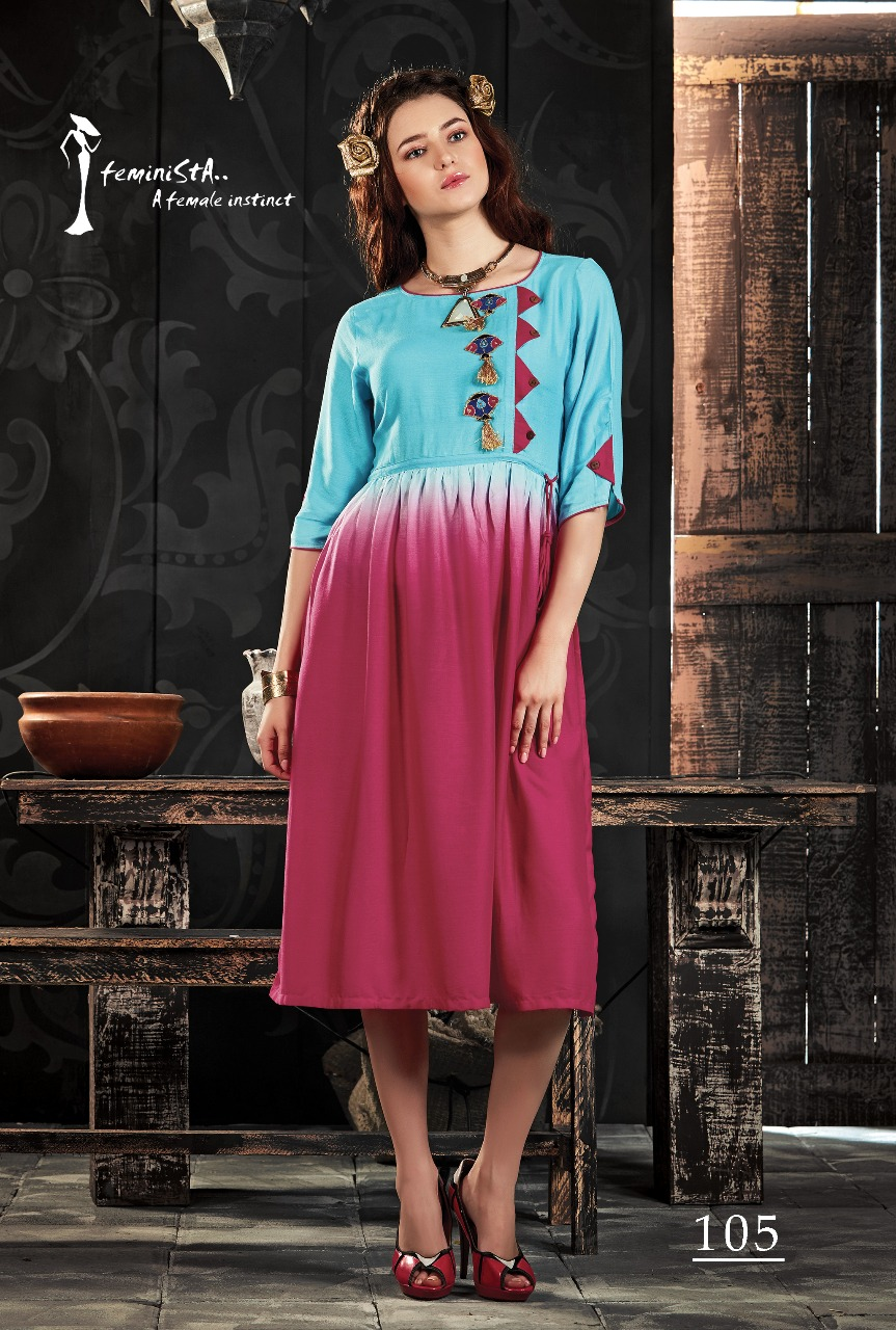 Expression-New Arrival Designer Rayon Ombre Kurti