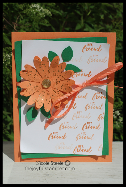 Grapefruit Grove 2018-2020 In Color card using Daisy and Leaf punches, Itty Bitty Greetings