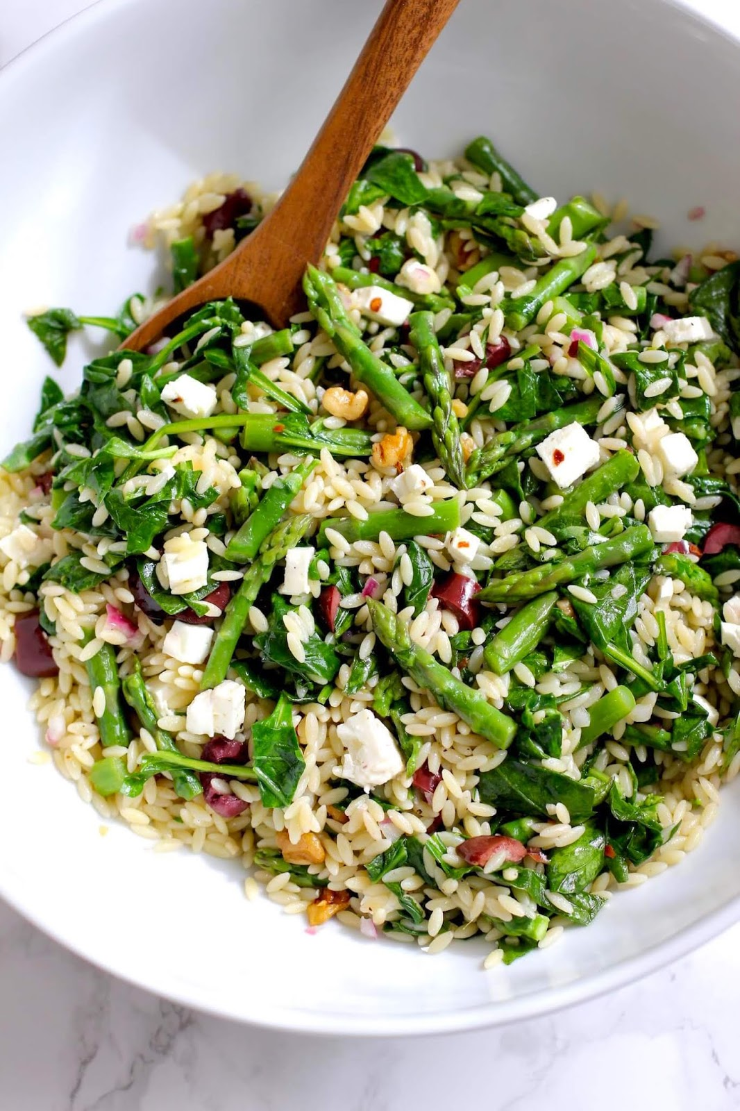 Healthy Orzo Salad with Asparagus and Spinach
