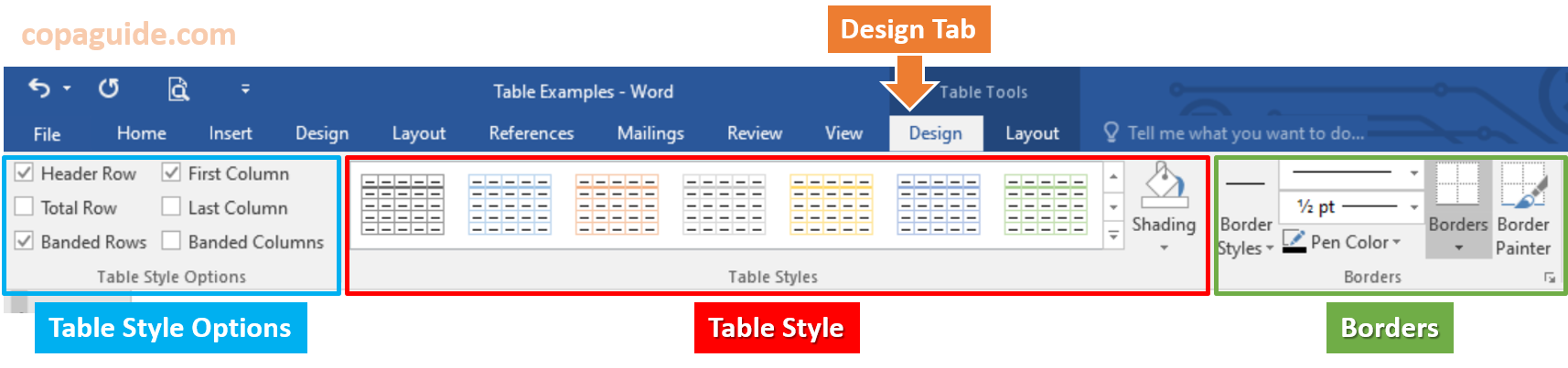 Microsoft Word - Table Formatting Design Tab