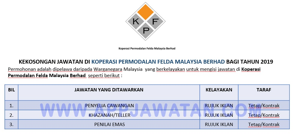 Jawatan Kosong Terkini Di Koperasi Permodalan Felda Malaysia