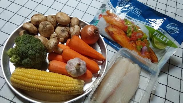 Bahan membuat sup kental tilapia aneka sayuran
