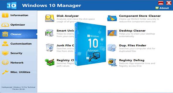 تحميل البرنامج الرائع لإدارة و التحكم الكامل بالويندوز Windows 10Manager V2.2.0 محمول