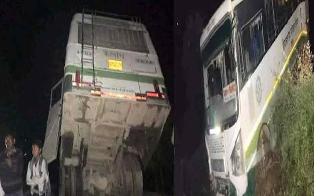 मंडी: हवा में लटकी HRTC की बस, 24 यात्री से भरी थी बस