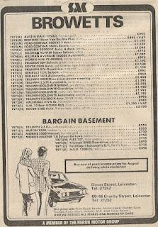Browetts - Leicester car dealer advert 1974