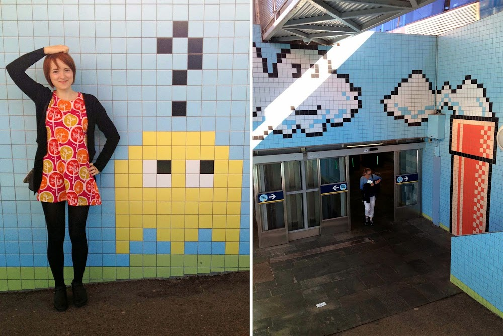 stockholm metro art, pixel art subway, 8-bit subway, pacman tiles, super mario tiles, super mario subway, thorildsplan tbana, thorildsplan subway art, stockholm metro art