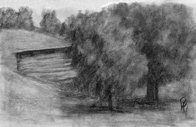 charcoal sketch barn tree rural landscape open land