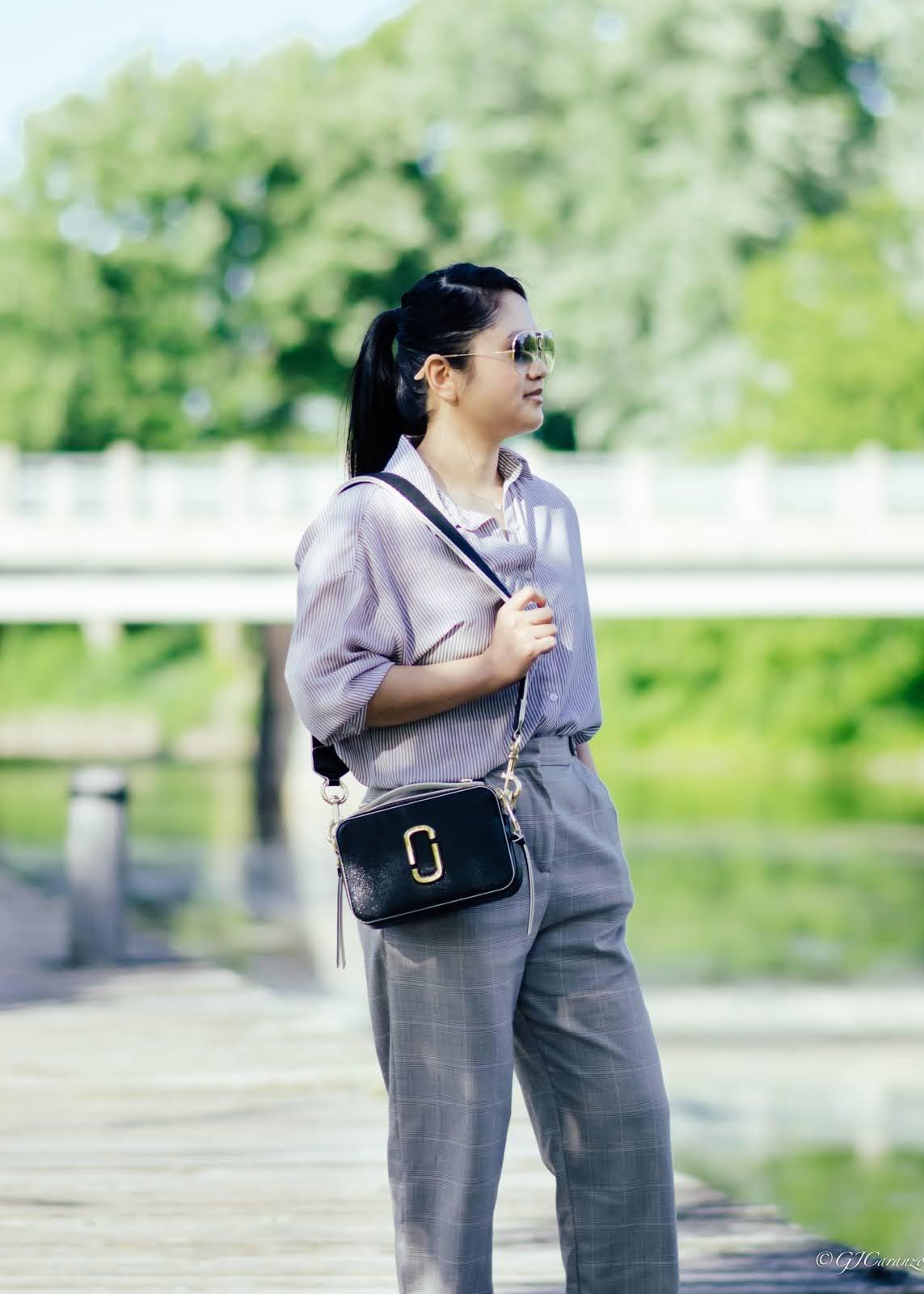 Flowy Stripe Shirt_Plaid Pants_Petite Summer Outfit_Marc Jacobs Sure Shot Bag