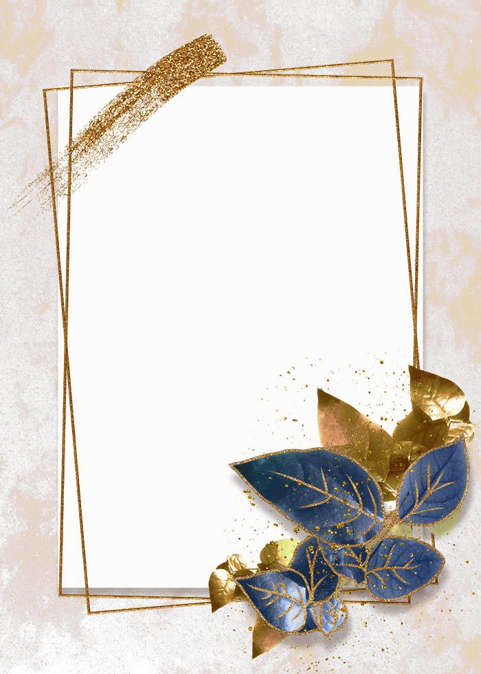 Golden Stroke Blue Leaves Gold Editable PSD