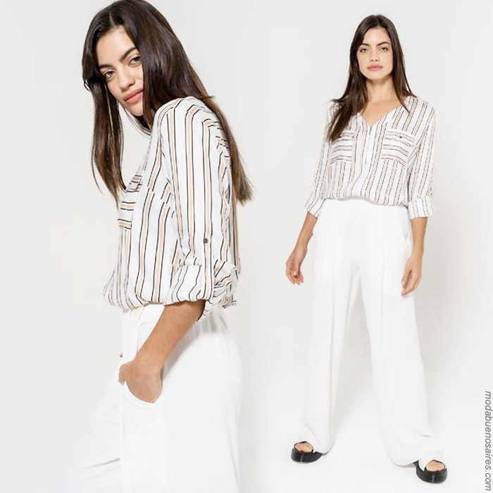 Camisas de mujer a rayas moda primavera verano 2020.