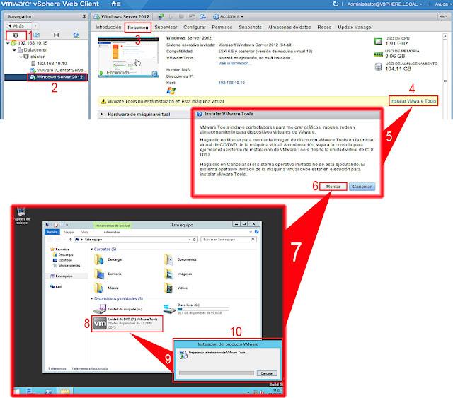 VMware vSphere 6.5.0: Instalar VMware Tools.