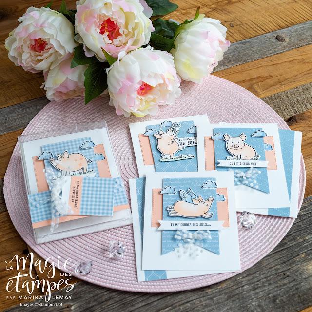 ensemble de cartes étampes Petit groin bien gras en cadeau!