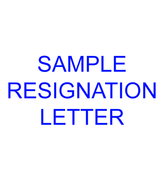 RESIGNATION LETTER   (Sample)