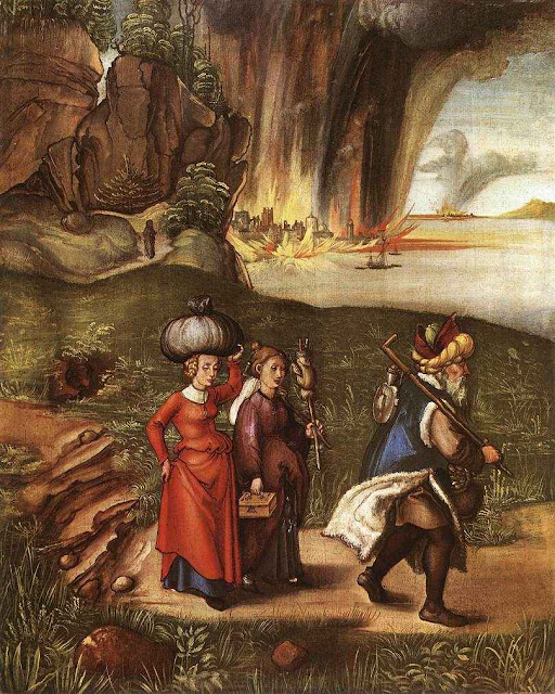 Lot foge de Sodoma com suas filhas. Jan Harmensz. Muller (1571-1628)