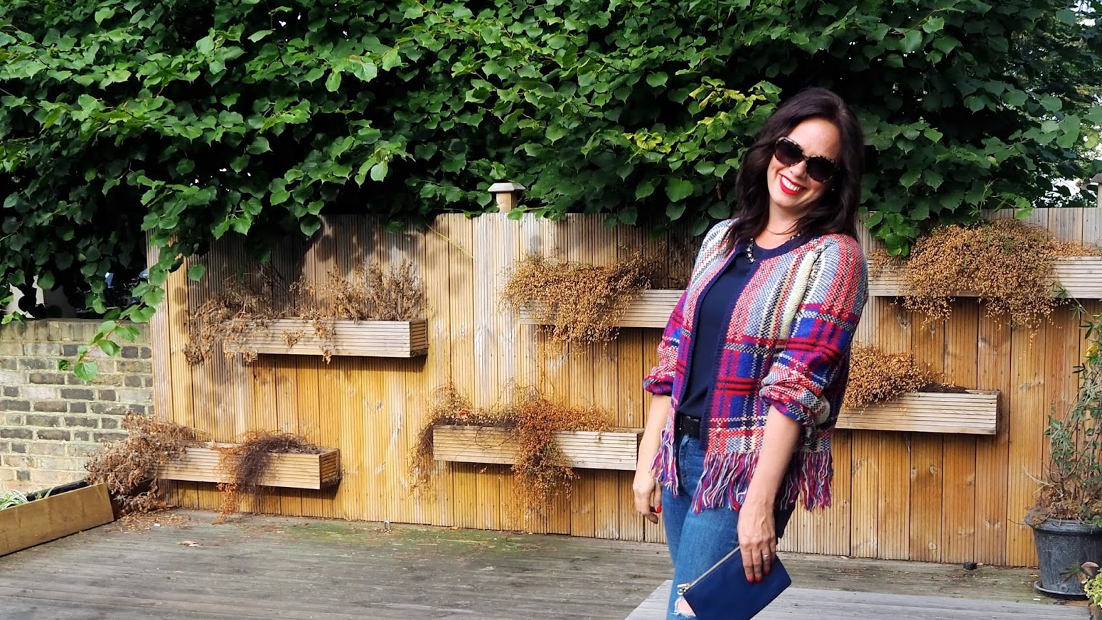structured plaid cardigan with fringe trim