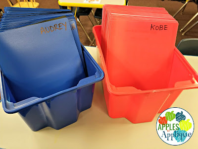 Keeping Organized with Two Half Day Classes. Color coded take home folders. | Apples to Applique