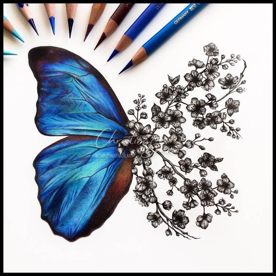 02-Blue-butterfly-and-flowers-Cristina-Simon-www-designstack-co