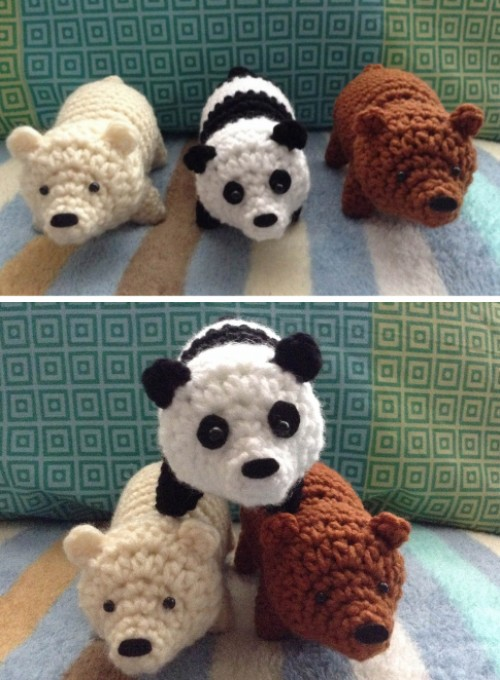 Crochet Brown Bear, Polar Bear & Panda - Free pattern