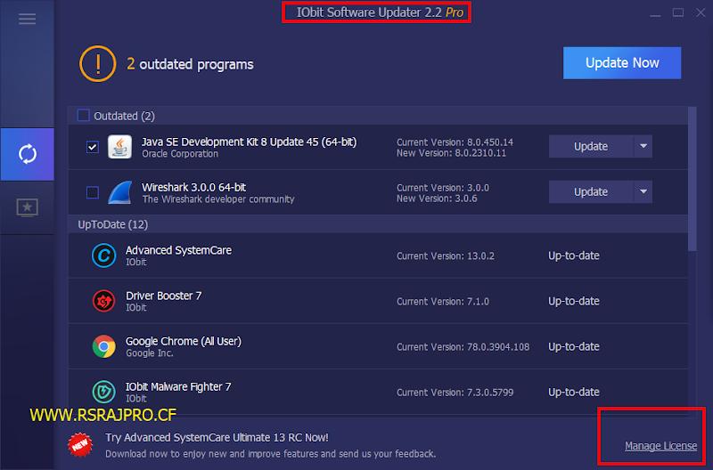 IObit Software Updater 2.3 pro key | IObit Software Updater 2.3 only key | New key | rsrajpro