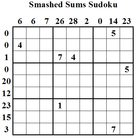 Smashed Sums Sudoku (Daily Sudoku League #20)