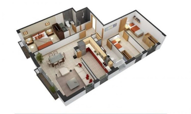 house plans 3 rooms with a land area of 60 meters