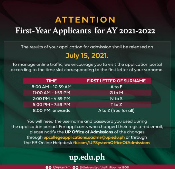 UPCA Results: UP college application AY 2021-2022