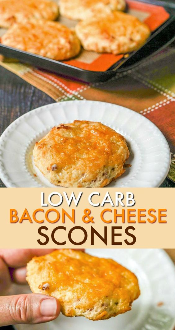 Low Carb Bacon Cheddar Scones #BREAKFAST #GLUTENFREE #LOWCARB