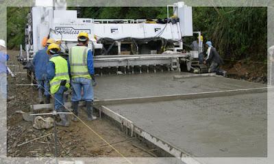 Colocación de pavimento rígido, pavimento de concreto