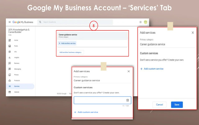 Google My Business Account – 'Services' Tab