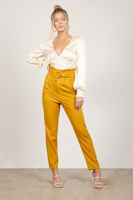 yellow high waisted pants