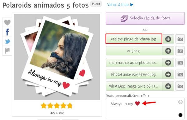 Como Fazer  Efeito Animado em  Polaroide com Cinco Fotos