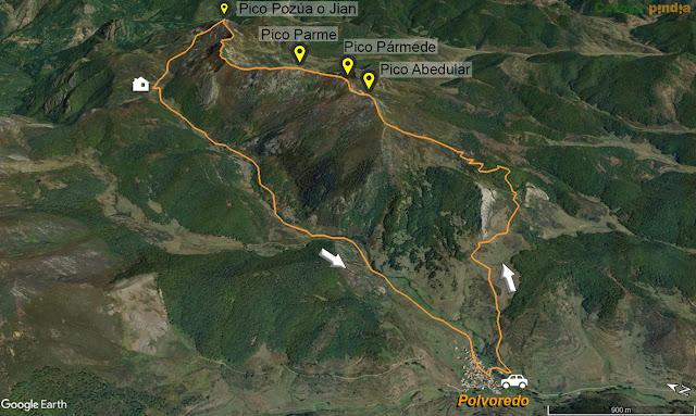 Mapa de la ruta al Pico Pozúa en la Cordillera de Pármede, desde Polvoredo.
