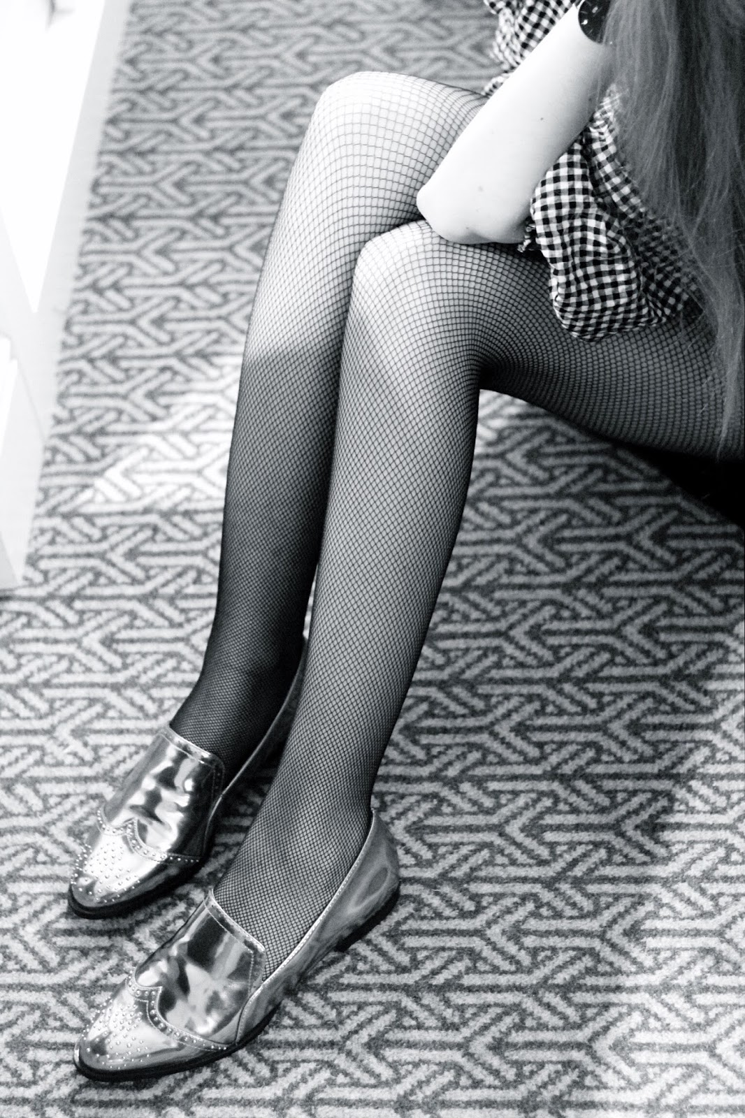 Black and White Photography of Fishnet Tights