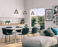 Beautiful dining room with Scandinavian style inspiration features lovely decoration and enticing furniture