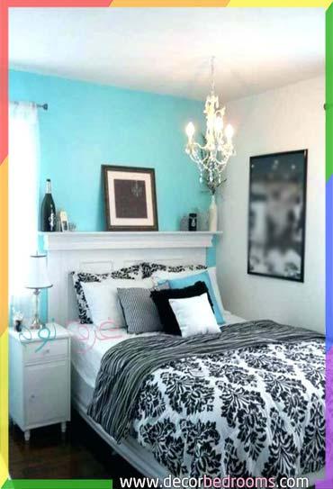 غرفة نوم بالطلاء تركواز