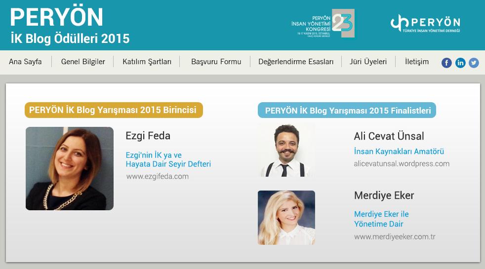 PERYON IK Blog Odulleri 2015 Kazananlar Belli Oldu