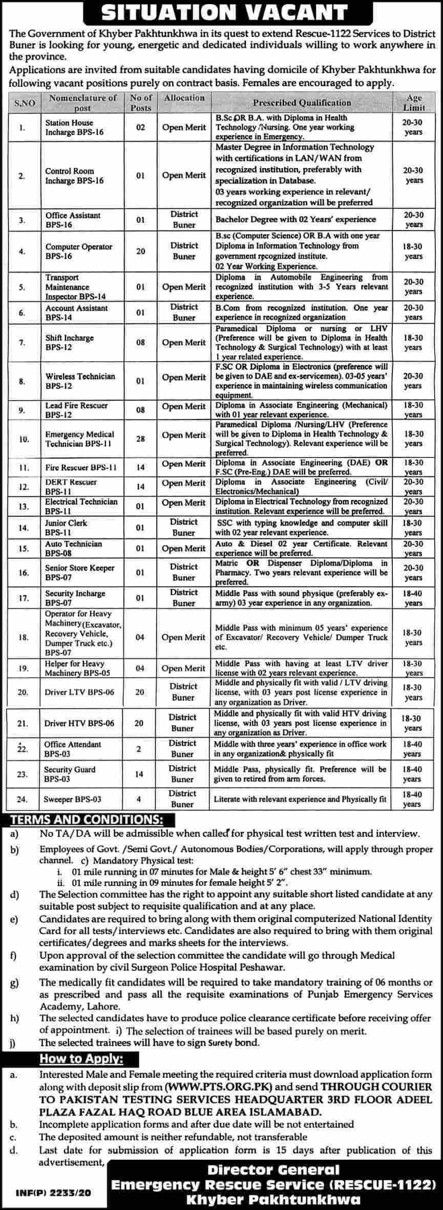 1122 Jobs 2020 KPK Emergency Rescue Service   PTS Jobs