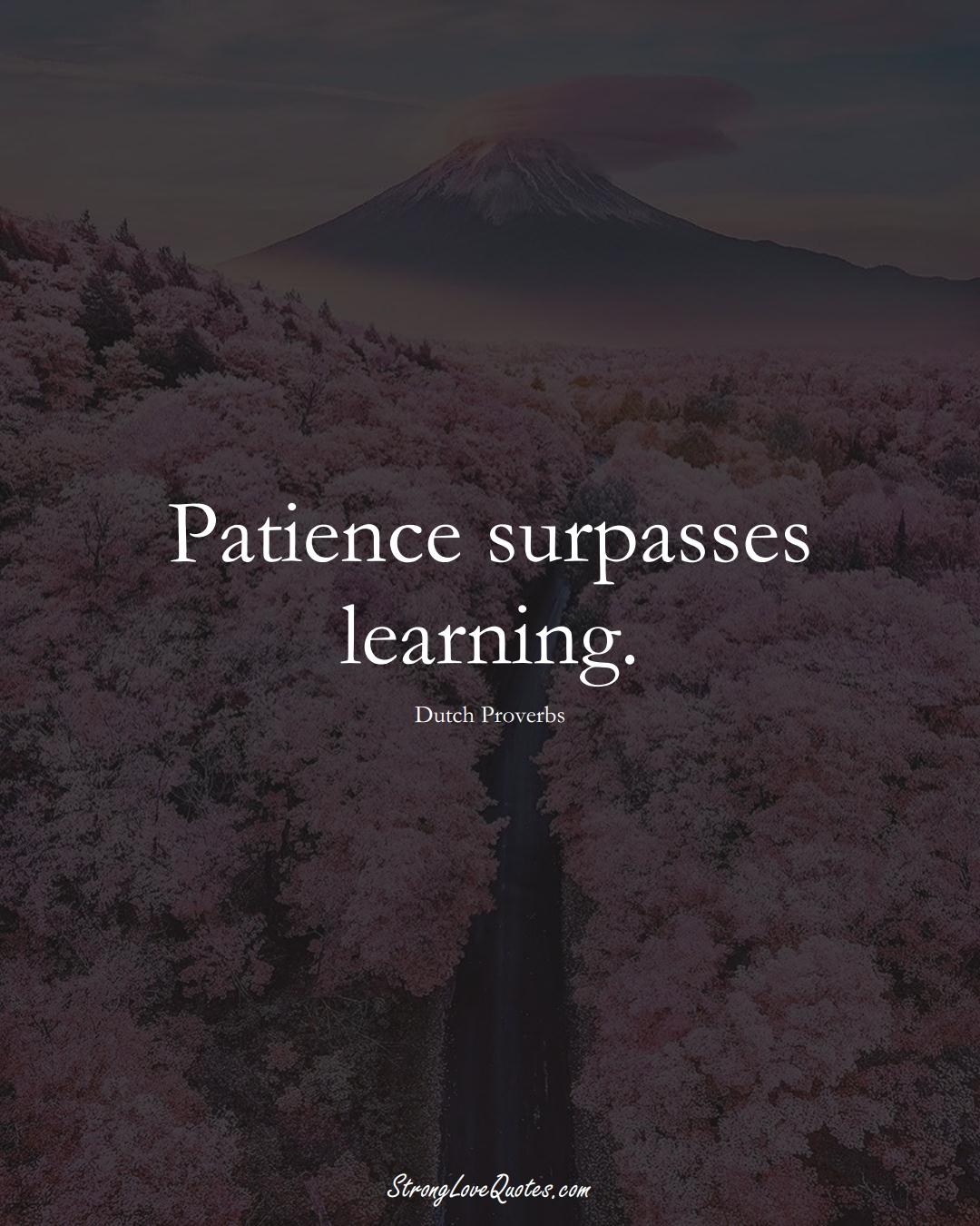 Patience surpasses learning. (Dutch Sayings);  #EuropeanSayings