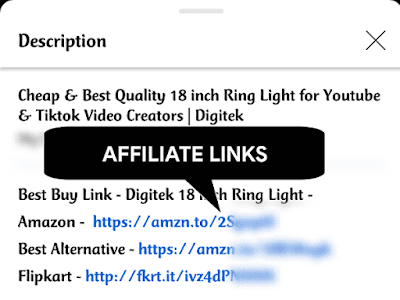 Affiliate Links in YouTube video Description