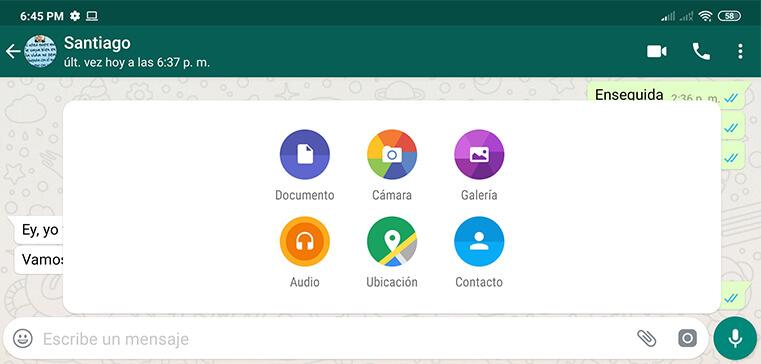 enviar archivos whatsapp móvil