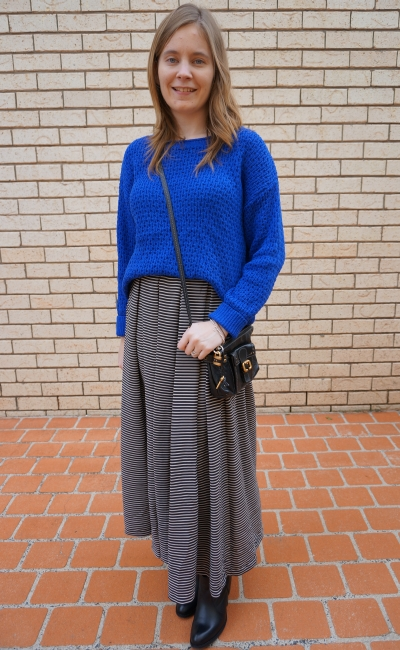 Away From Blue OOTD wearing a jumper with a maxi skirt in winter ankle boots