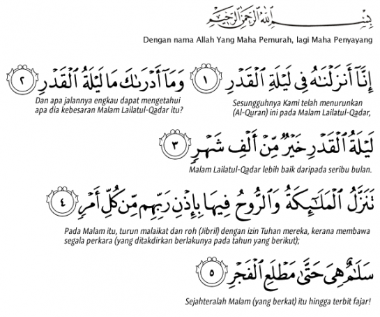 Image result for surah al qadr dan terjemahan