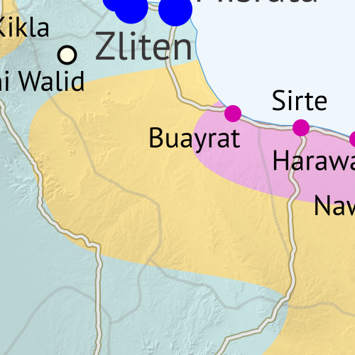 Libya control map: Shows detailed territorial control in Libya's civil war as of March 2016, including all major parties (Tobruk government, General Haftar's Operation Dignity forces, and Zintan militias; Tripoli GNC government, Libya Dawn, and Libya Shield Force; Shura Council of Benghazi Revolutionaries and other hardline Islamist groups; and the so-called Islamic State (ISIS/ISIL)). Also file under: Map of Islamic State (ISIS) control in Libya. Now includes terrain and major roads. Color blind accessible.