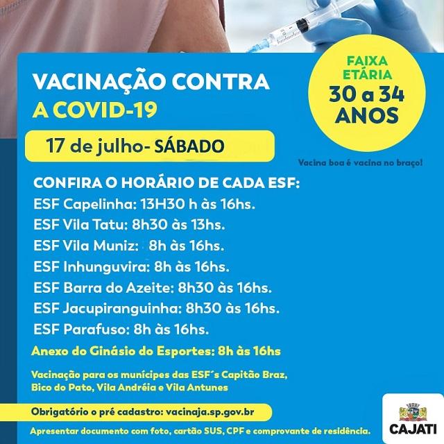 Campanha de vacinação contra a Covid-19 acontece em Cajati neste sábado, 17 de julho