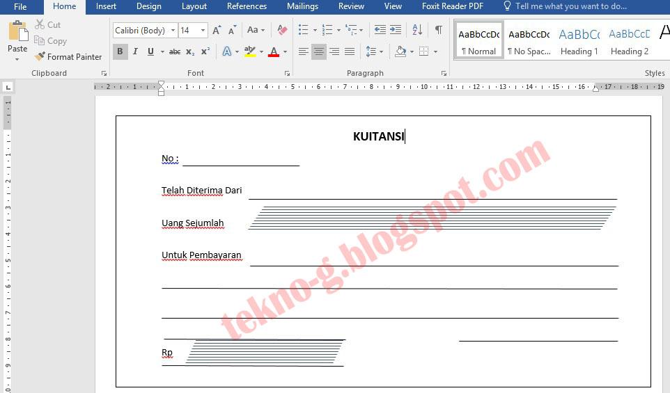Download Contoh Kwitansi Penjualan Toko Format Microsoft