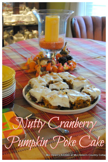 Nutty Cranberry Pumpkin Poke Cake at Miz Helen's Country Cottage