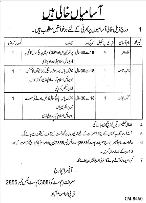 Government Jobs in Islamabad PO Box No 2855